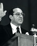 Former Gov. Mario Cuomo speaking at the 1986 Commencement