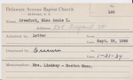 Crawford, Miss. Annie by Delaware Avenue Baptist Church