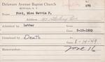 Ford, Miss. Nettie P by Delaware Avenue Baptist Church