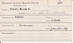Fowler, Mr. George M by Delaware Avenue Baptist Church