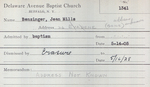 Benzinger, Ms. Jean by Delaware Avenue Baptist Church