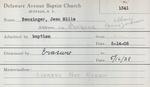 Benzinger, Ms. Jean by Delaware Avenue Baptist Church