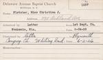 Fletcher, Miss. Christian J by Delaware Avenue Baptist Church