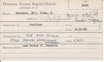 Sanders, Mrs. Charles G by Delaware Avenue Baptist Church