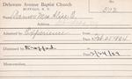 Warner, Ms. Alice E by Delaware Avenue Baptist Church