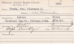France, Mrs. Clarence H by Delaware Avenue Baptist Church