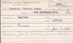 Gregory, Mr. Francis Fargo by Delaware Avenue Baptist Church