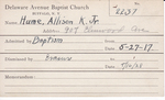Hume, Mrs. Allison K by Delaware Avenue Baptist Church