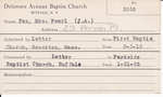 Fox, Mrs. Pearl JA by Delaware Avenue Baptist Church