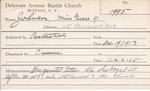 Johnson, Miss. Grace T by Delaware Avenue Baptist Church