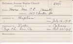 Howes, Mrs. Bessie R by Delaware Avenue Baptist Church