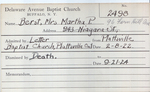 Berst, Mrs. Martha P by Delaware Avenue Baptist Church