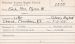 Finch, Mrs. Myron  W