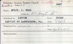 Aplin, Mr. Ross J by Delaware Avenue Baptist Church
