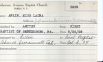Aplin, Miss. Laura by Delaware Avenue Baptist Church