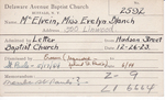 McElvein, Miss. Evelyn by Delaware Avenue Baptist Church