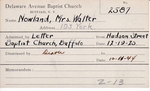 Nowland, Mrs. Walter by Delaware Avenue Baptist Church
