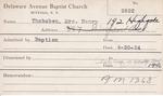 Thobaben, Mr. Henry by Delaware Avenue Baptist Church