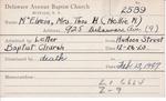 McElvein, Mrs. Nellie M by Delaware Avenue Baptist Church