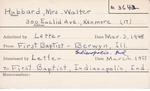 Hubbard, Mrs. Walter