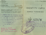 Identity card no. 1036/W issued to Zofia Drzewieniecka by British Government
