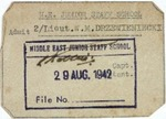 Pass to British Army's Middle East Junior Staff School to Admit 2nd Lieutenant W.M. Drzewieniecki by Unkown