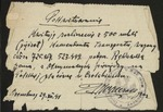 Original Receipt for Transport of Polish Soldiers from Siberia by Delegation of the Polish Army in the U.S.S.R