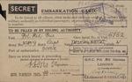 "Embarkation Card Marked ""Secret"" by B. Regulski"