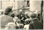 Francis Eustachius Fronczak greeted by youth.