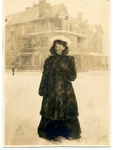 Lucy Rosalie (Lucja Rozalia) in a fur coat in front of a large house by The Francis Fronczak Collection