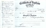 1958-1995; Church Books; Document Certificate Of Baptism and Birth