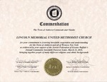 2010; Commendation for Interfaith Cooperation by Lincoln Memorial United Methodist Church
