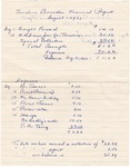1961; Sunshine Committee Financial Report by Lincoln Memorial United Methodist Church