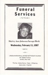 1987-02-11; Pamphlets; Funeral Services for the Late Shirley Ann Johnson Savage Heck