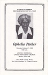1989-02-02; Pamphlets; A Service of Worship for the life of Ophelia Parker