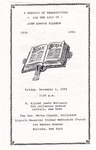 1991-11-01; Pamphlets; A Service of Thanksgiving for the Life of John Edward Egleton