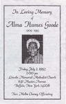 1993-07-02 Pamphlet In Loving Memory of Alma Humes Goode