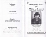 1997-10-18; Pamphlets; Homegoing Service for Mary L Beason
