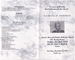 1997-12-12; Pamphlets; A Service of Worship and Celebration for the Life of Lauretta M Anderson