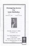 2002-01-05; Pamphlets; Homegoing Service for Leon McMullen
