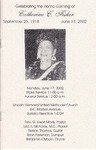 2002-06-17; Pamphlets; Celebrating the Home Coming of Catherine C Fisher