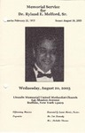 2003-08-20; Pamphlets; Memorial Service for Dr. Ryland E Melford Sr.