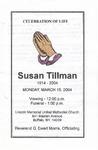 2004-03-15; Pamphlets; Celebration of Life Susan Tillman