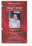 2006-03-14; Pamphlets; Celebrating the Life of Mary P Gordon