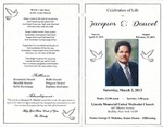 2013-03-02; Pamphlets; Celebration of Life for Jacques E Doucet by Lincoln Memorial United Methodist Church