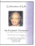 2014-11-07; Pamphlets; Celebration of Life Ida Elizabeth Thompson