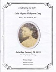 2016-01-16; Pamphlets; Celebrating the Life of Lula Virginia Hickerson Long