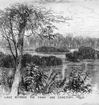 Anonymous sketch of Delaware Park lake showing Forest Lawn cemetery in distance, c. 1890.