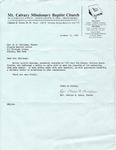 1980-10-12; Letter; Rev R.D. Holloway Pastor by Pilgrim Missionary Baptist Church