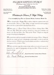Undated; Letter; Resolution for Deacon F Hugh Kirksey